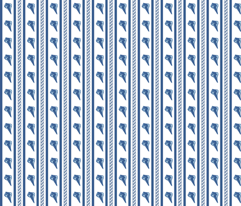 Rope Shell Stripe White Navy Small fabric by phyllisdobbs on Spoonflower - custom fabric