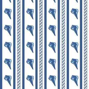 Rope Shell Stripe White Navy Small