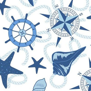 Nautical Navy and White Large