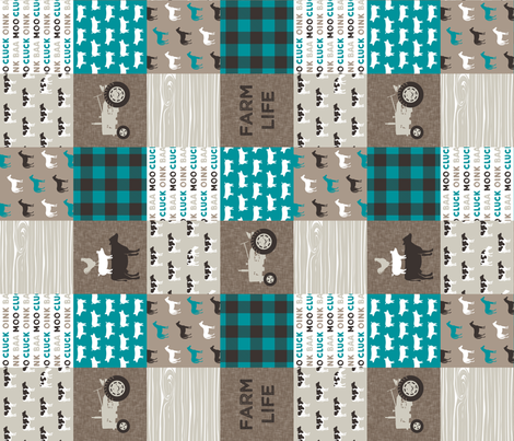 "(3"" small scale) Farm Life - Patchwork wholecloth - turquoise, brown, & tan (90) C18BS fabric by littlearrowdesign on Spoonflower - custom fabric"