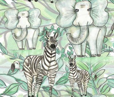 Elefantes y cebras
