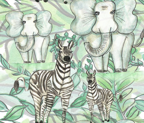 Elefantes y cebras fabric by maarsic_c on Spoonflower - custom fabric