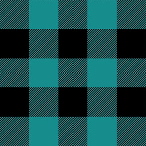 dark teal and black plaid