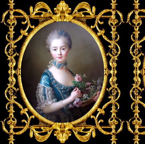 Marie Antoinette inspired princesses pink roses blue lace gowns chokers pearl bracelets baroque victorian flowers young girl gold black frame border medallion swirls scrolls filigree leaves leaf ballgowns rococo portraits beautiful beauty elegant gothic l fabric by raveneve on Spoonflower - custom fabric
