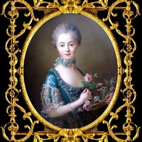 Marie Antoinette inspired princesses pink roses blue lace gowns chokers pearl bracelets baroque victorian flowers young girl gold black frame border medallion swirls scrolls filigree leaves leaf ballgowns rococo portraits beautiful beauty elegant gothic l