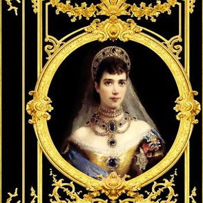 queen crowns tiara baroque rococo gold floral flowers gowns victorian diamond sapphire princesses chokers necklaces medals order black royal portraits floral filigree swirls scrolls festoon medallions leaves leaf swags ornate acanthus elegant gothic lolit