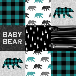 baby bear woodland patchwork fabric - dark teal, black, grey C18BS