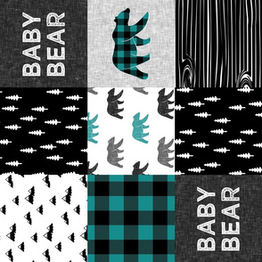 baby bear woodland patchwork fabric - dark teal, black, grey (90) C18BS