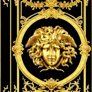 1 Versace inspired medusa baroque rococo black gold flowers floral filigree swirls scrolls victorian festoon medallions leaves leaf swags ornate acanthus gorgons Greek Greece mythology