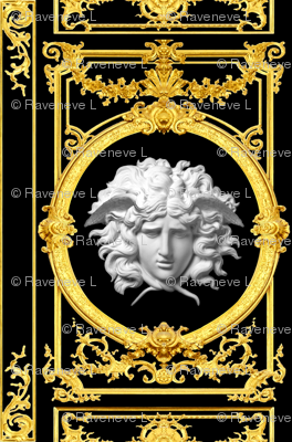 2 Versace inspired medusa baroque rococo black gold white flowers floral old  filigree swirls scrolls victorian festoon medallions leaves leaf swags ornate acanthus gorgons Greek Greece mythology