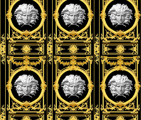 2 Versace inspired medusa baroque rococo black gold white flowers floral old  filigree swirls scrolls victorian festoon medallions leaves leaf swags ornate acanthus gorgons Greek Greece mythology    fabric by raveneve on Spoonflower - custom fabric