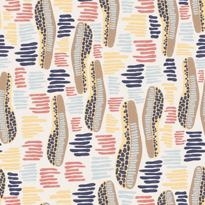 Abstract shapes and stripes blue coral yellow on a white background