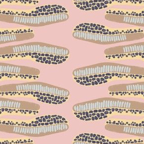 abstract horizontal shapes brown light blue navy blue yellow on a pink background