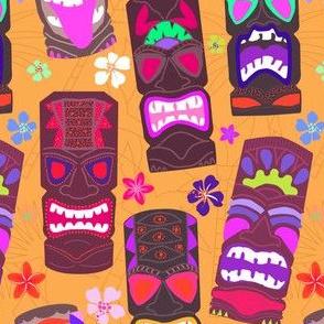 Retro Tiki Mask Luau in Mod Orange