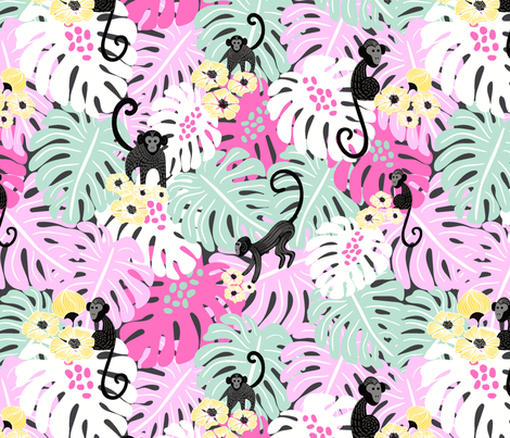 Tropical Monkey Forest fabric by vivdesign on Spoonflower - custom fabric