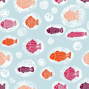 Doodle fishes orange pink purple coral in bubbles on a blue background.