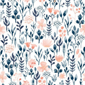 Watercolor in Pastel Orange and Blue Floral
