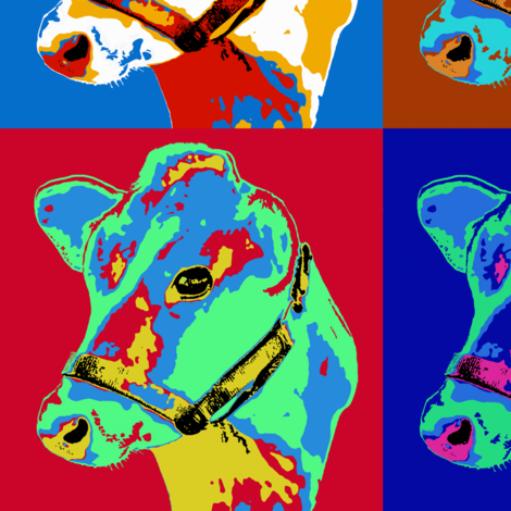 Pop Art Cows fabric by linda_baysinger_peck on Spoonflower - custom fabric