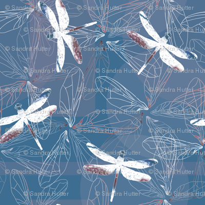 dragonfly silhouettes and wings on blue background