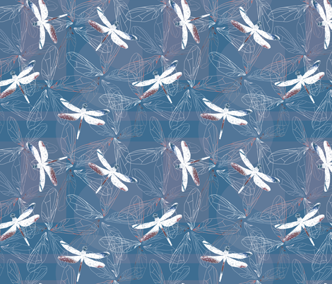 dragonfly silhouettes and wings on blue background fabric by sandra_hutter_designs on Spoonflower - custom fabric
