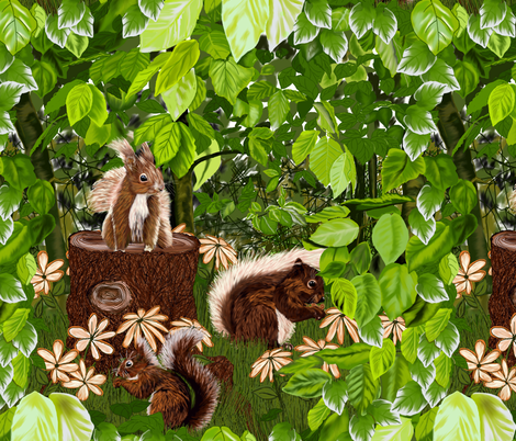 CUTE SQUIRRELS fabric by house_of_heasman on Spoonflower - custom fabric