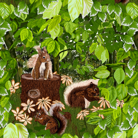 Cute Squirrels Smaller Version  fabric by house_of_heasman on Spoonflower - custom fabric