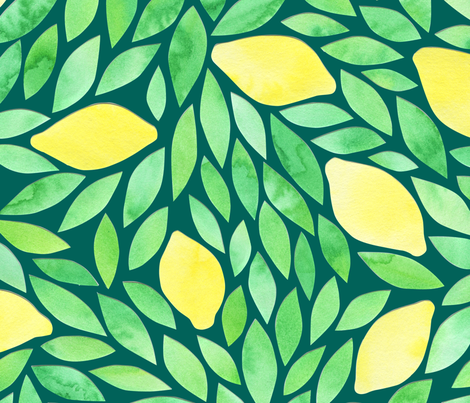 lemons pattern turquoise fabric by crafted on Spoonflower - custom fabric
