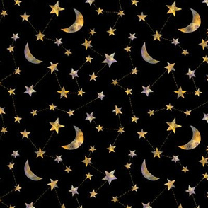 watercolor constellation stars and moon