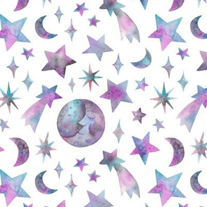 watercolor lilac celestial bodies