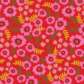 pink flowers in red