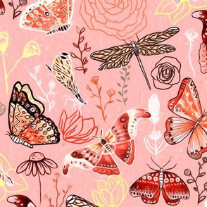 Dragonflies, Butterflies And Moths In Coral, Orange Mustard, Yellow And Red - Big