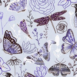 Dragonflies, Butterflies And Moths In Baby Blue,  Purple Amethyst And Grey - Big
