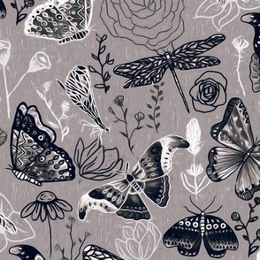 Dragonflies, Butterflies And Moths In Grey, Black And White - Big