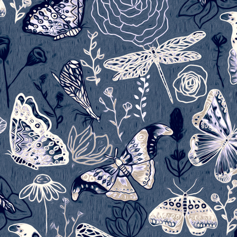 Dragonflies, Butterflies And Moths In White, Navy And Grey Blue - Big fabric by tigatiga on Spoonflower - custom fabric