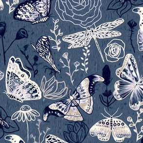 Dragonflies, Butterflies And Moths In White, Navy And Grey Blue - Big