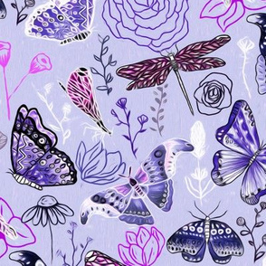 Dragonflies, Butterflies And Moths In Lilac, Magenta And Blue  - Big
