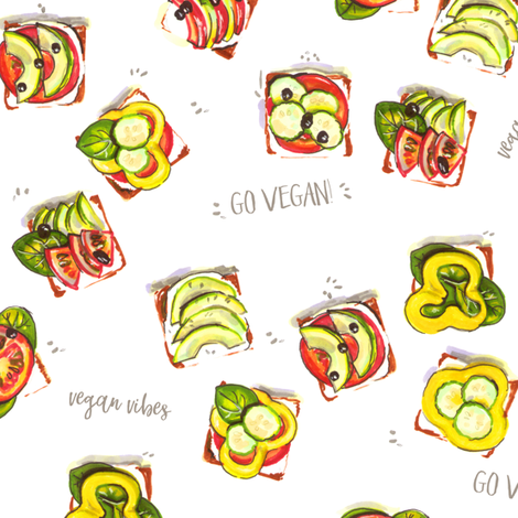go vegan fabric by alenaganzhela on Spoonflower - custom fabric