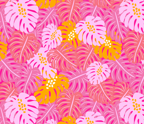 Monstera Leaves - bright pink fabric by vivdesign on Spoonflower - custom fabric