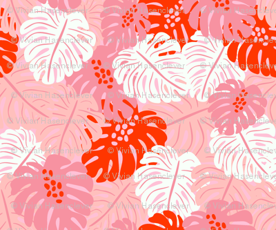 Monstera Leaves - red
