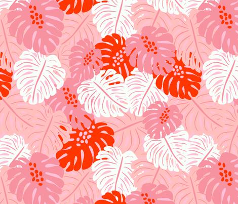 Monstera Leaves - red fabric by vivdesign on Spoonflower - custom fabric