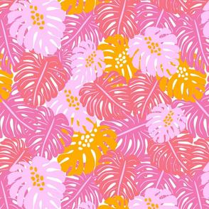 Monstera Leaves - Pink