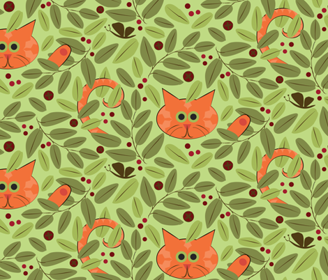 Cat in the Bushes fabric by colour_angel_by_kv on Spoonflower - custom fabric