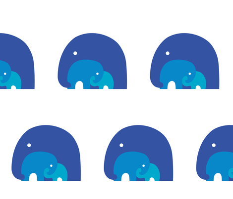 Elephant Family (Blue) fabric by mindful_doodler on Spoonflower - custom fabric