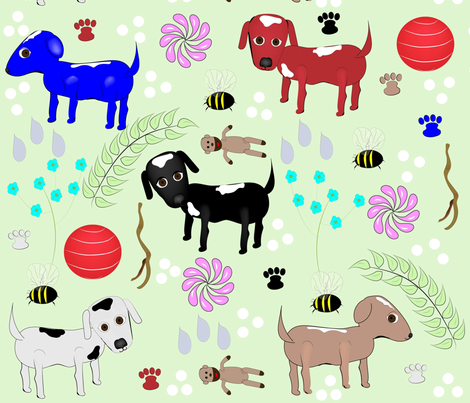 One Pup-Two Pup, Red Pup Blue Pup fabric by gracelillydesigns on Spoonflower - custom fabric