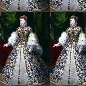 1 Queen Elizabeth 1 inspired princesses Queens renaissance tudor big lace ruff collar baroque pearls white gold gown flowers floral vines leaves crown tiara french france fur sleeves beauty elizabethan era 16th century 17th century historical embroidery o