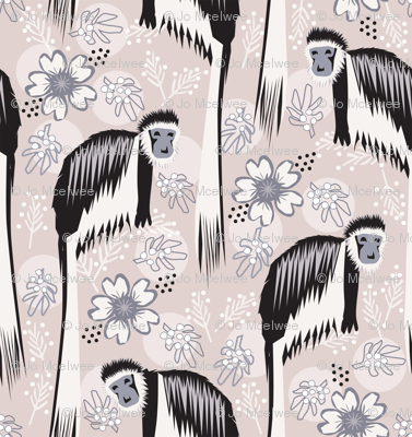 Colobus Monkey in the Flowers