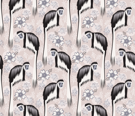 Colobus Monkey in the Flowers fabric by lacy_and_jojo on Spoonflower - custom fabric