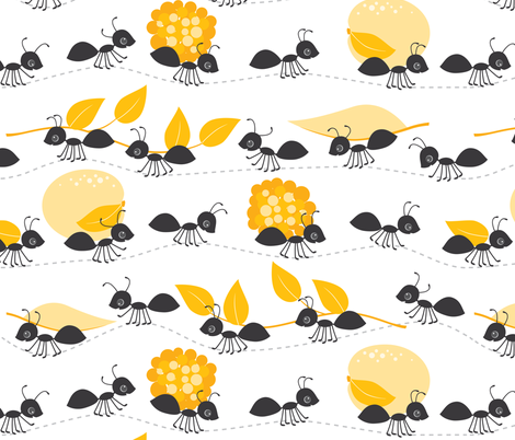 ants in summer fabric by heleenvanbuul on Spoonflower - custom fabric