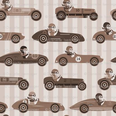 Vintage Race Cars - sepia