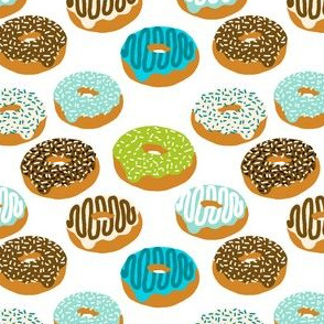 doughnuts boys aqua mint blue food fabric